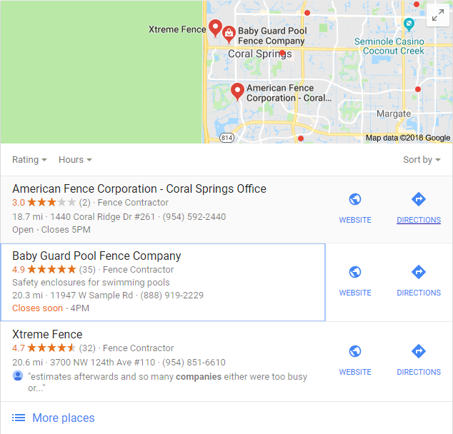 fence company local maps Google results